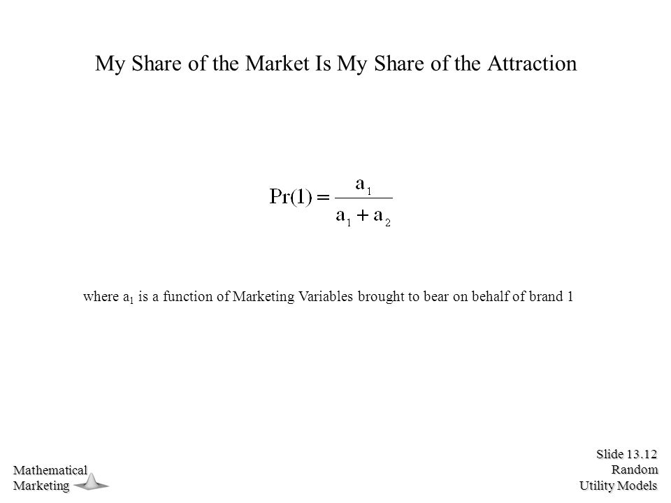 Slide 13.12 Random Utility Models MathematicalMarketing My Share of the Market Is My Share of the Attraction where a 1 is a function of Marketing Variables brought to bear on behalf of brand 1