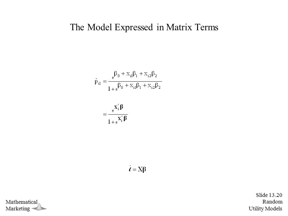 Slide 13.20 Random Utility Models MathematicalMarketing The Model Expressed in Matrix Terms