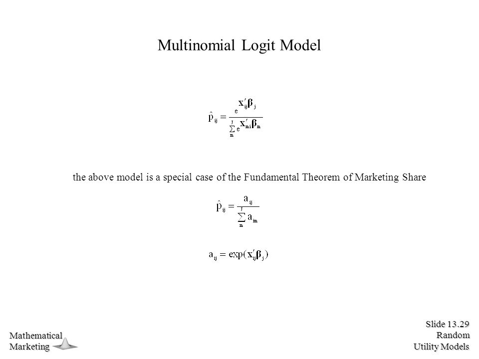 Slide 13.29 Random Utility Models MathematicalMarketing Multinomial Logit Model the above model is a special case of the Fundamental Theorem of Marketing Share