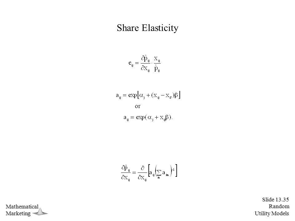 Slide 13.35 Random Utility Models MathematicalMarketing Share Elasticity or