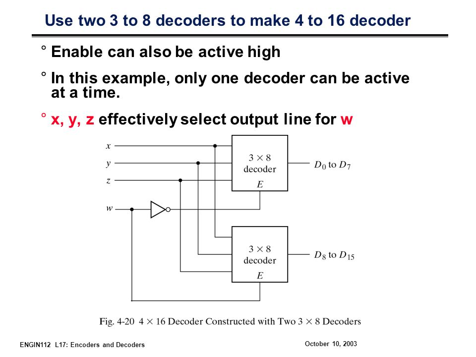 ENGIN112 L17: Encoders and Decoders October 10, 2003 Use two 3 to 8 decoders to make 4 to 16 decoder °Enable can also be active high °In this example,