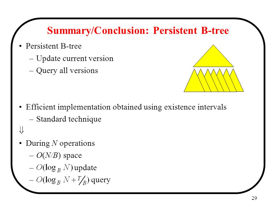 29 Summary/Conclusion: Persistent B-tree Persistent B-tree –Update current version –Query all versions Efficient implementation obtained using existence intervals –Standard technique  During N operations –O(N/B) space – update – query