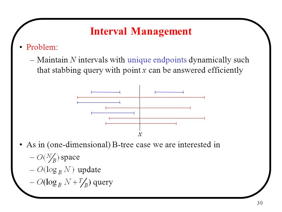30 Problem: –Maintain N intervals with unique endpoints dynamically such that stabbing query with point x can be answered efficiently As in (one-dimensional) B-tree case we are interested in – space – update – query Interval Management x