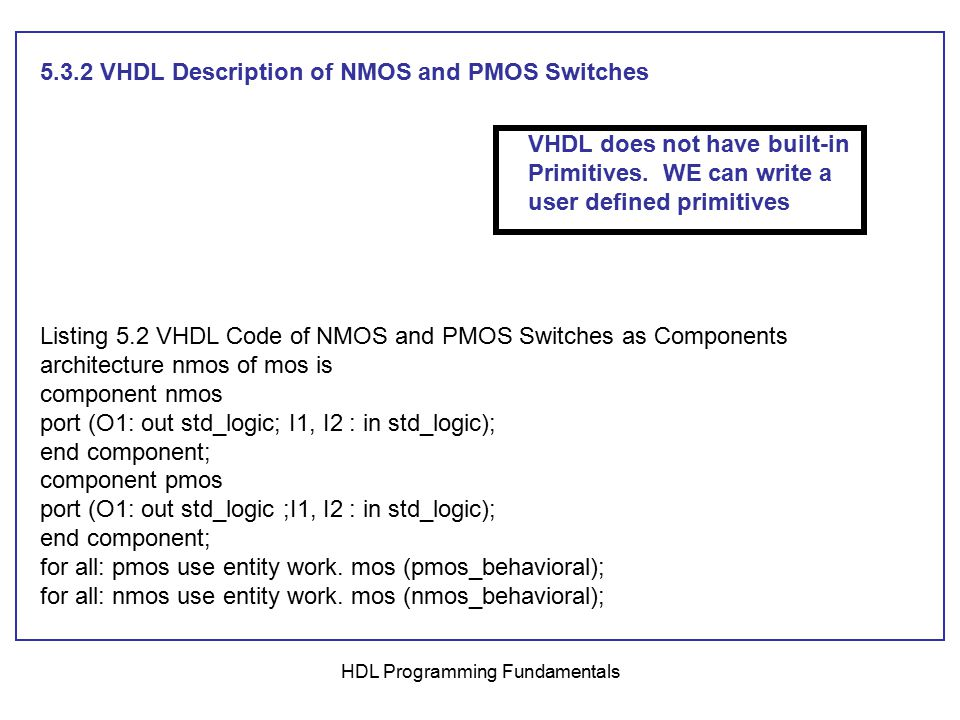 HDL Programming Fundamentals a) VHDL Description D-latch using CMOS Switches library IEEE; use IEEE.STD_LOGIC_1164.ALL; entity D_Latch is port ( D, E : in std_logic; Q, Qbar : inout std_logic); -- Referring to Figure 5.22, signal Q is input and output and has multiple sources (the inverter and the CMOS switche, so Q has to be declared as inout.