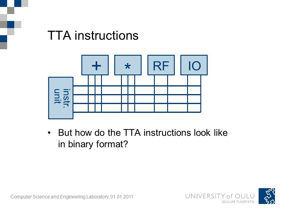 Computer Science and Engineering Laboratory, 01.01.2011 TTA instructions + * RFIO instr.