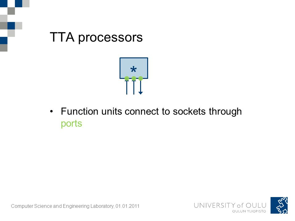 Computer Science and Engineering Laboratory, 01.01.2011 TTA processors * Function units connect to sockets through ports