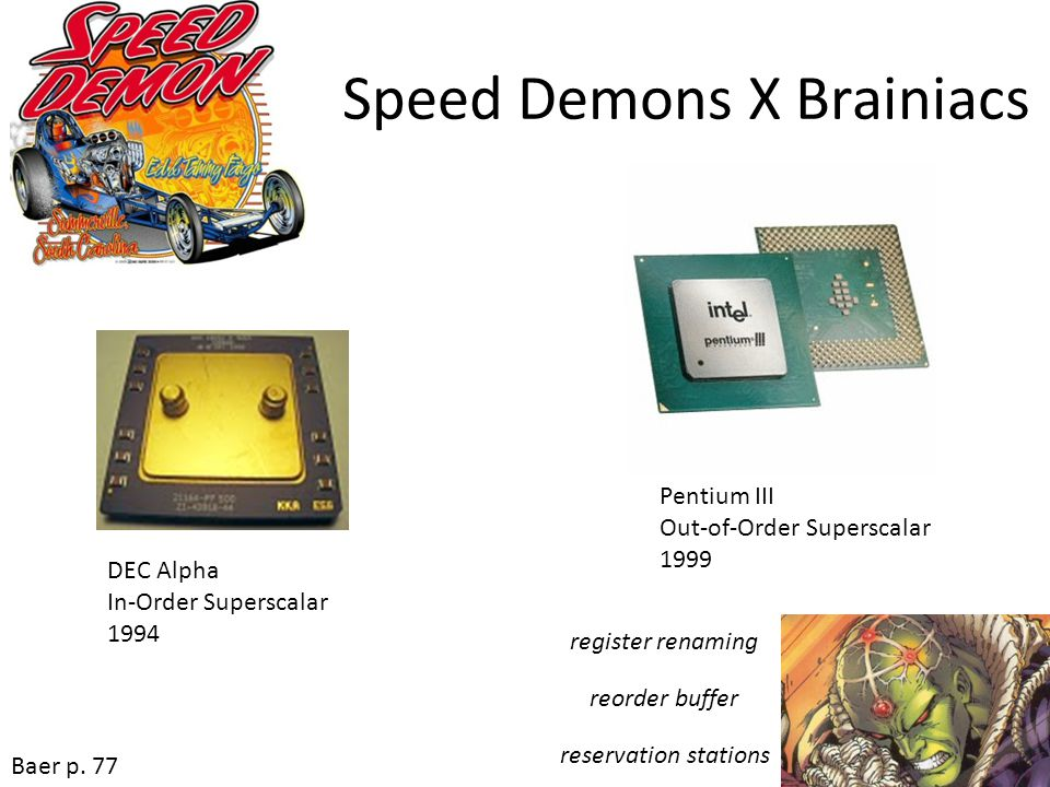 Speed Demons X Brainiacs Pentium III Out-of-Order Superscalar 1999 DEC Alpha In-Order Superscalar 1994 Baer p. 77 register renaming reorder buffer res