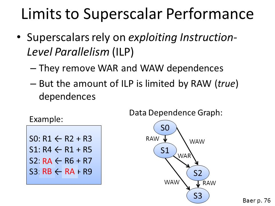 Limits to Superscalar Performance Complexity of logic to remove dependencies – Designers predicted 8-way and 16-way superscalars – We have 6-way superscalars and m is not likely to grow Baer p.