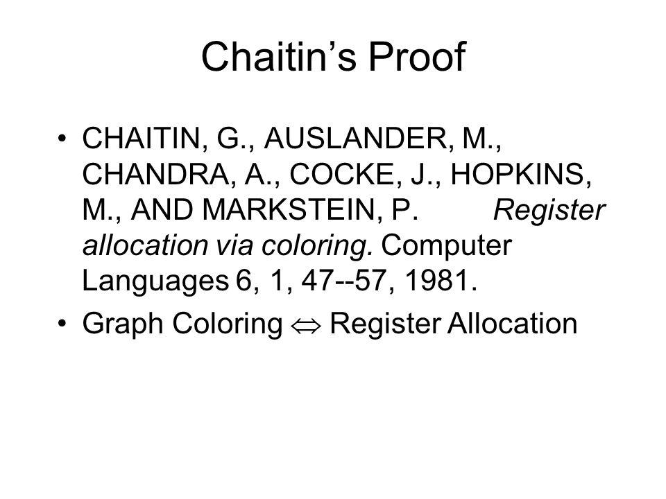 Chaitin's Proof CHAITIN, G., AUSLANDER, M., CHANDRA, A., COCKE, J., HOPKINS, M., AND MARKSTEIN, P. Register allocation via coloring. Computer Language