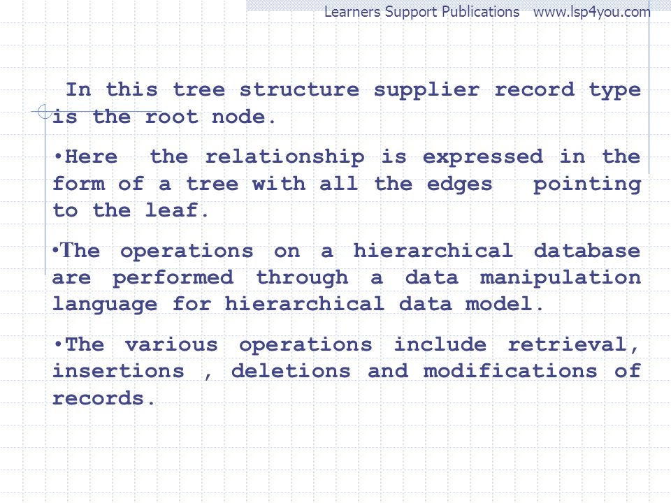 Learners Support Publications www.lsp4you.com In this tree structure supplier record type is the root node. Here the relationship is expressed in the