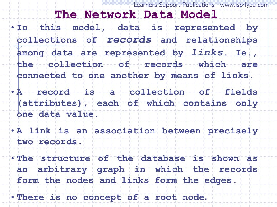Learners Support Publications www.lsp4you.com The Network Data Model In this model, data is represented by collections of records and relationships among data are represented by links.