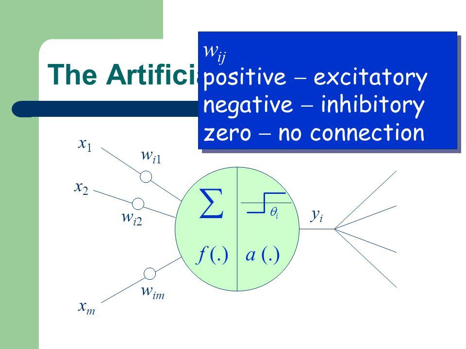 The Artificial Neuron x1x1 x2x2 xmxm wi1wi1 wi2wi2 w im yiyi f (.)a (.) ii  w ij positive  excitatory negative  inhibitory zero  no connection w