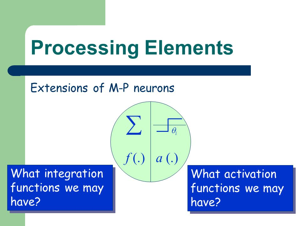 Processing Elements f (.)a (.) ii  What integration functions we may have? What activation functions we may have? Extensions of M-P neurons