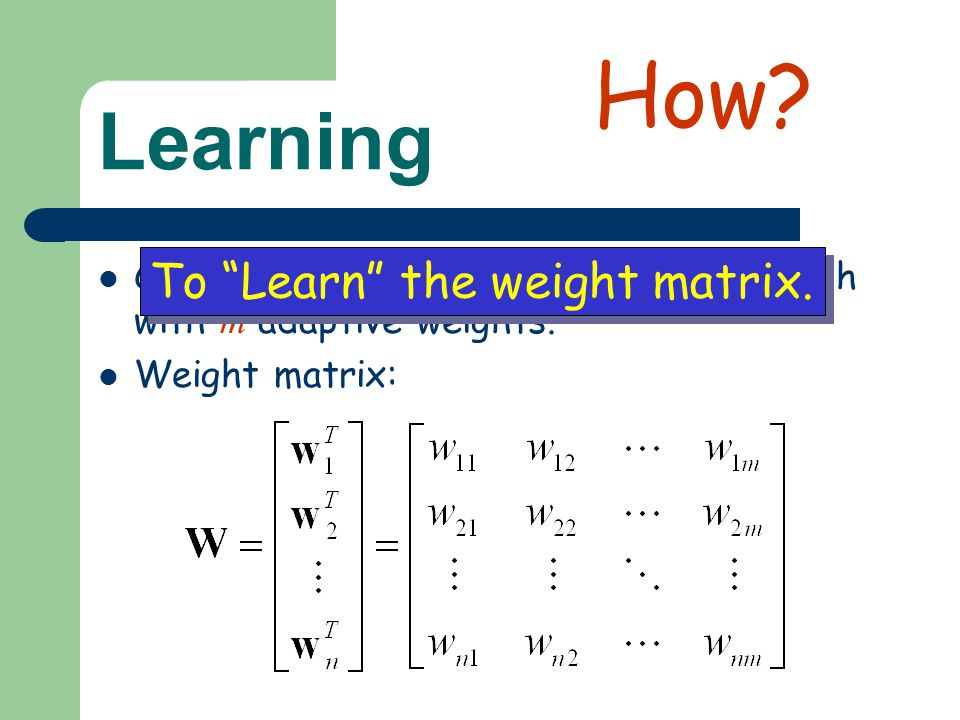 """Learning Consider an ANN with n neurons and each with m adaptive weights. Weight matrix: To """"Learn"""" the weight matrix. How?"""