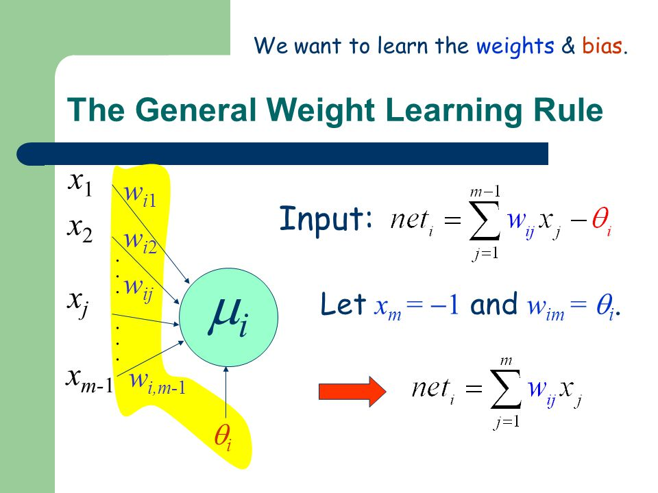 The General Weight Learning Rule Input: ii............ wi1wi1 wi2wi2 w ij w i,m-1 x1x1 x2x2 xjxj x m-1 ii Let x m =  1 and w im =  i.