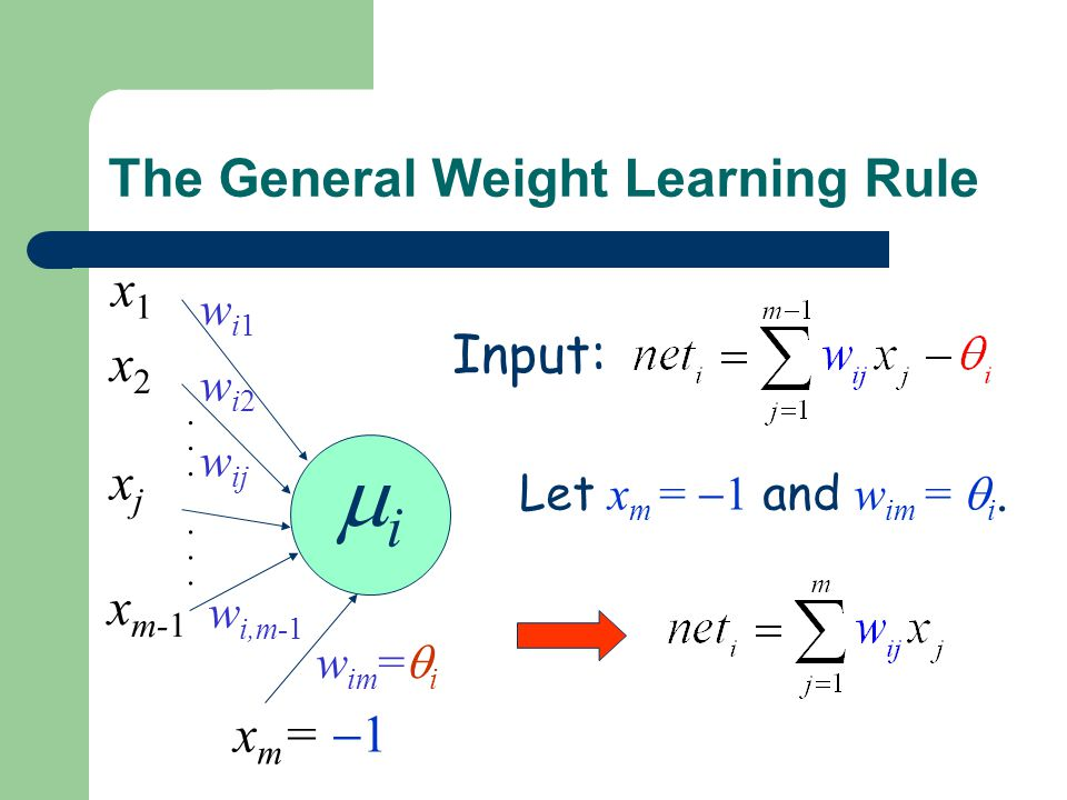 The General Weight Learning Rule Input: ii............ wi1wi1 wi2wi2 w ij w i,m-1 x1x1 x2x2 xjxj x m-1 Let x m =  1 and w im =  i. x m =  1 w im