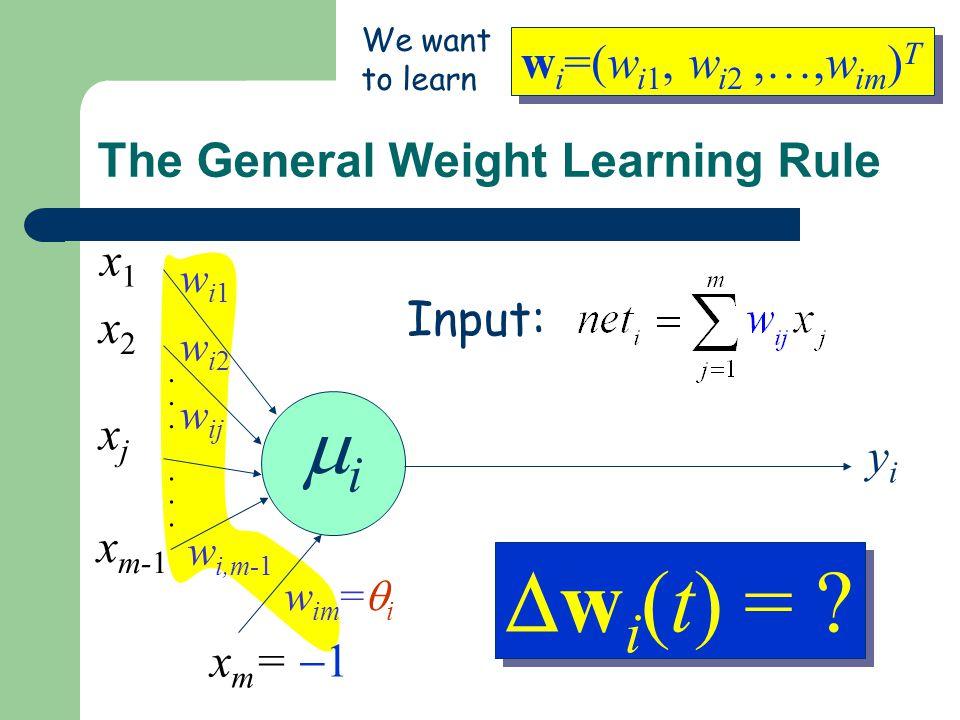 The General Weight Learning Rule Input: ii............ wi1wi1 wi2wi2 w ij w i,m-1 x1x1 x2x2 xjxj x m-1 x m =  1 w im =  i yiyi w i =(w i1, w i2,…,