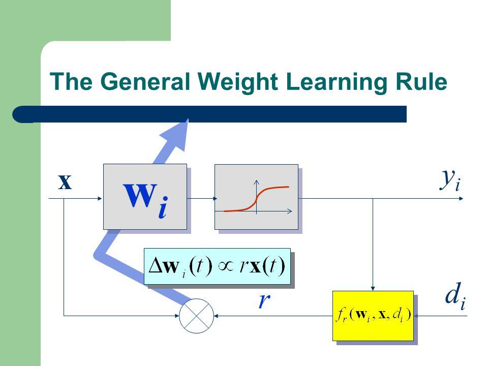 The General Weight Learning Rule wiwi wiwi x yiyi r didi Learning Signal Generator Learning Signal Generator