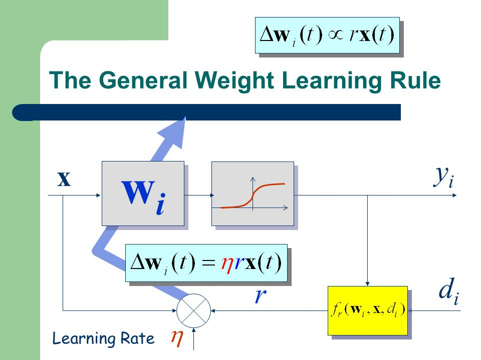 The General Weight Learning Rule wiwi wiwi x yiyi r didi Learning Signal Generator Learning Signal Generator  Learning Rate