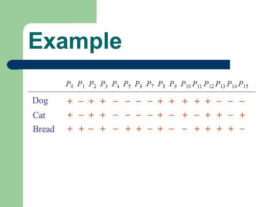 Example P0P0 P1P1 P2P2 P3P3 P4P4 P5P5 P6P6 P7P7 P8P8 P9P9 P 10 P 11 P 12 P 13 P 14 P 15 + _ ++ ____ +++++ ___ + _ ++ ____ + _ + _ ++ _ +++ _ + _ ++ _