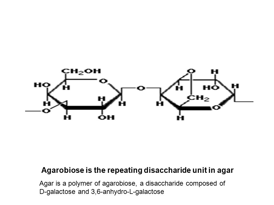 Agarobiose is the repeating disaccharide unit in agar Agar is a polymer of agarobiose, a disaccharide composed of D-galactose and 3,6-anhydro-L-galactose