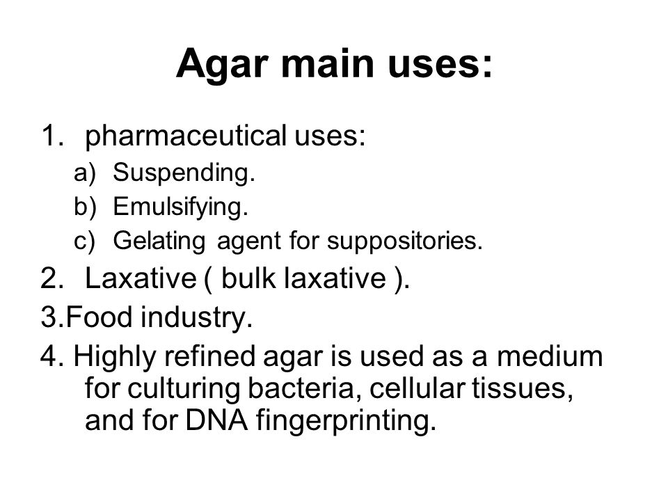 Agar main uses: 1.pharmaceutical uses: a)Suspending.