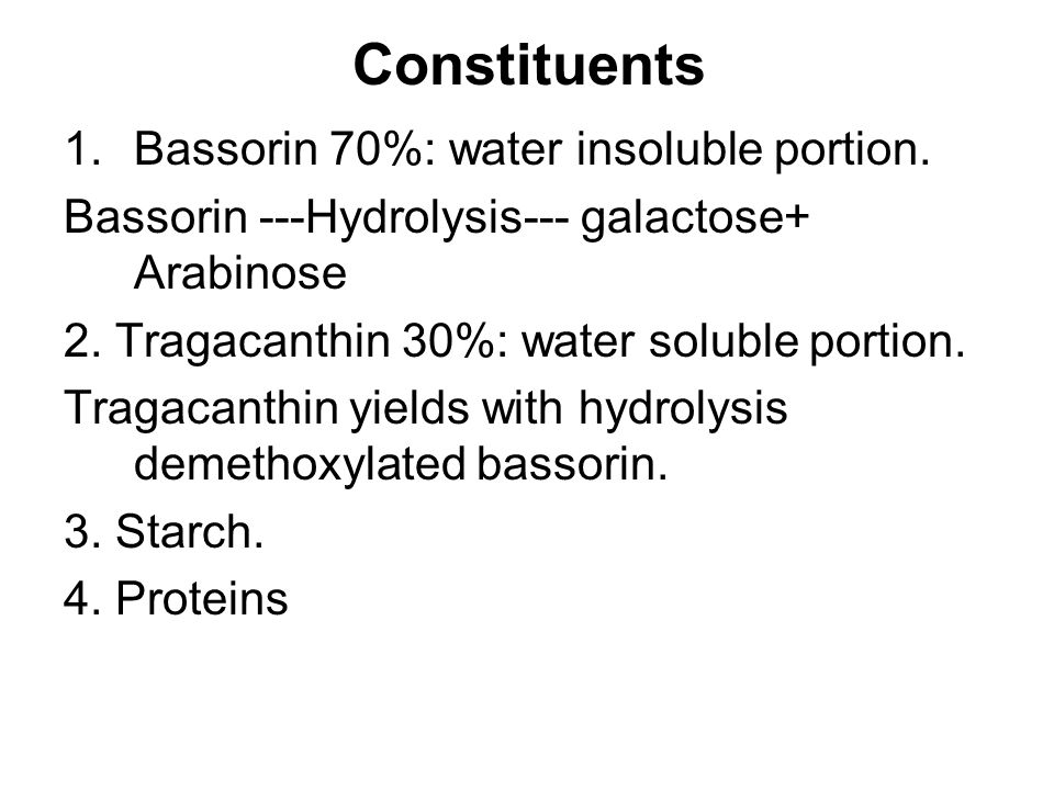 Constituents 1.Bassorin 70%: water insoluble portion.