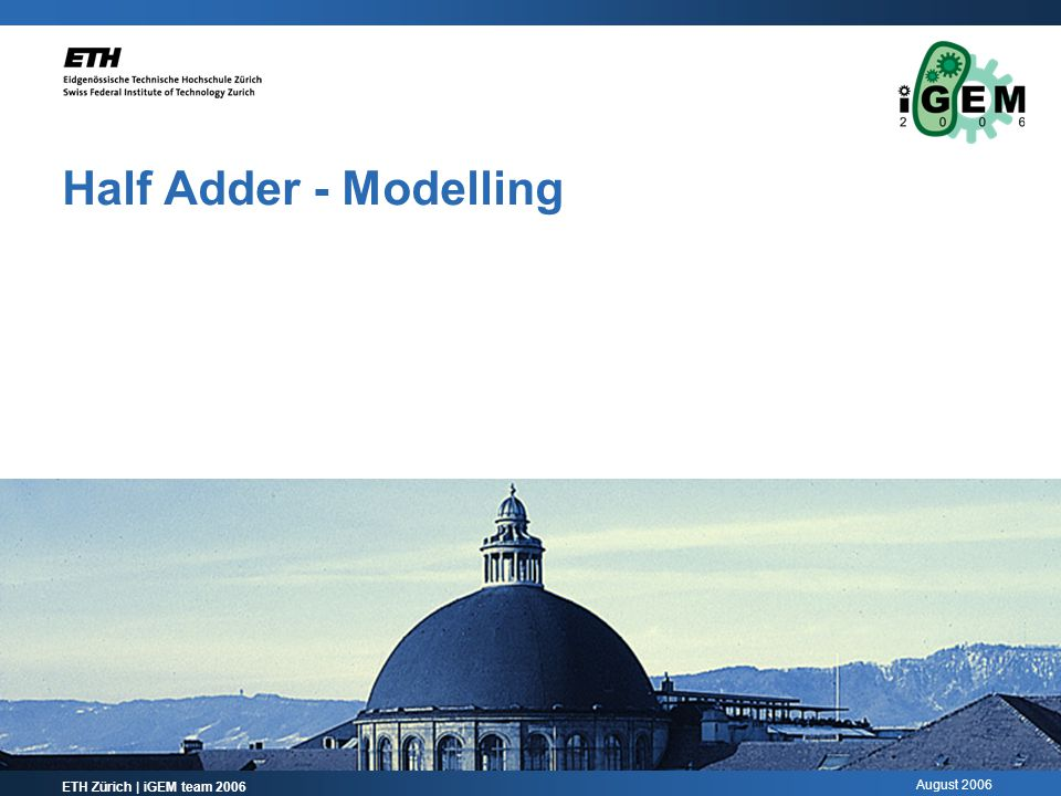August 2006 Half Adder - Modelling ETH Zürich | iGEM team 2006