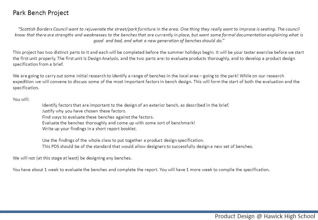 Product Design @ Hawick High School Unit 1 - Design Analysis.