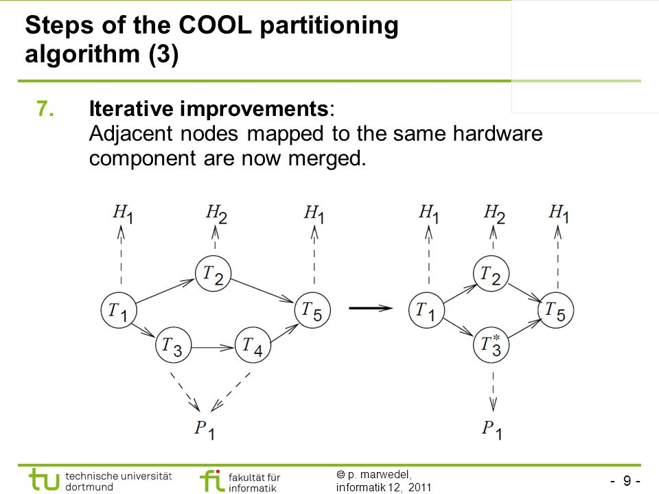 - 9 -  p. marwedel, informatik 12, 2011 Steps of the COOL partitioning algorithm (3) 7.Iterative improvements: Adjacent nodes mapped to the same hard