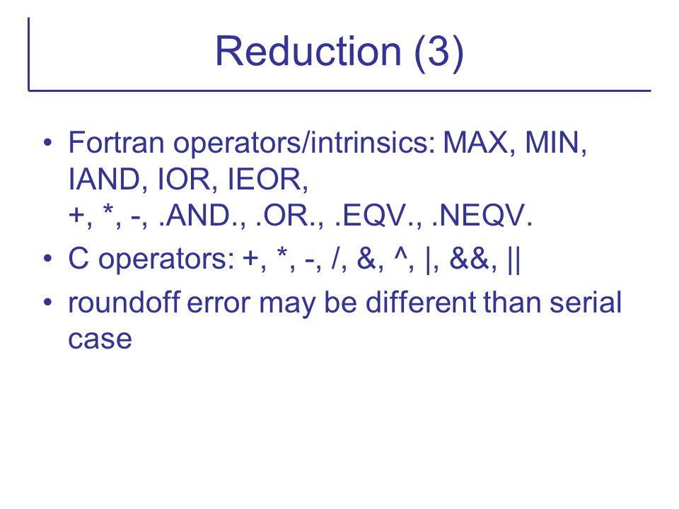 Reduction (3) Fortran operators/intrinsics: MAX, MIN, IAND, IOR, IEOR, +, *, -,.AND.,.OR.,.EQV.,.NEQV. C operators: +, *, -, /, &, ^, |, &&, || roundo