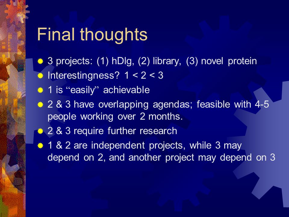 Final thoughts  3 projects: (1) hDlg, (2) library, (3) novel protein  Interestingness.