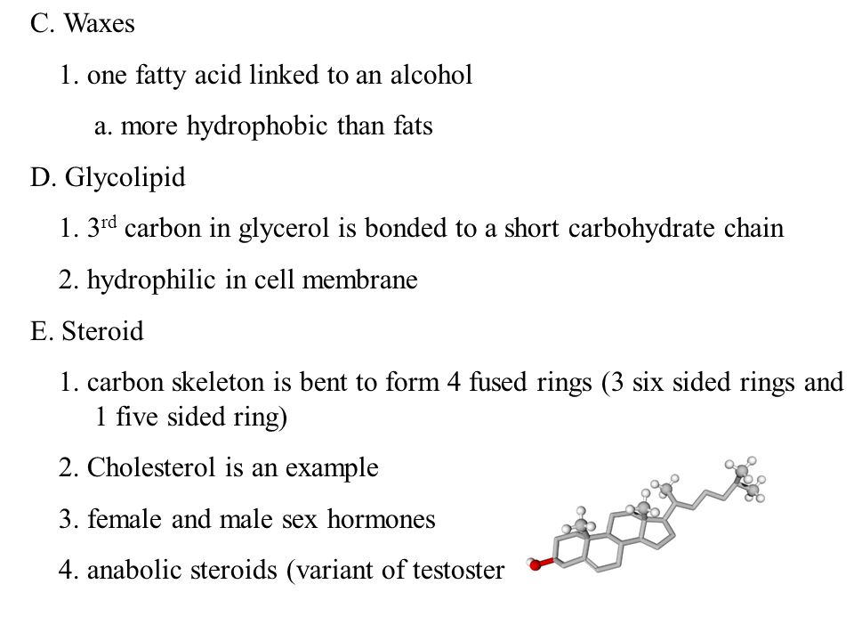 C. Waxes 1. one fatty acid linked to an alcohol a.