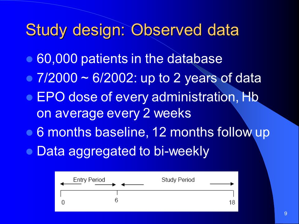 9 Study design: Observed data 60,000 patients in the database 7/2000 ~ 6/2002: up to 2 years of data EPO dose of every administration, Hb on average every 2 weeks 6 months baseline, 12 months follow up Data aggregated to bi-weekly