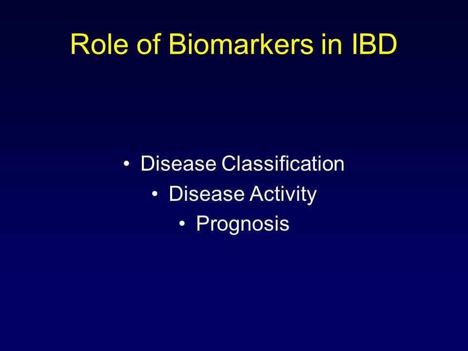 Role of Biomarkers in IBD Disease Classification Disease Activity Prognosis
