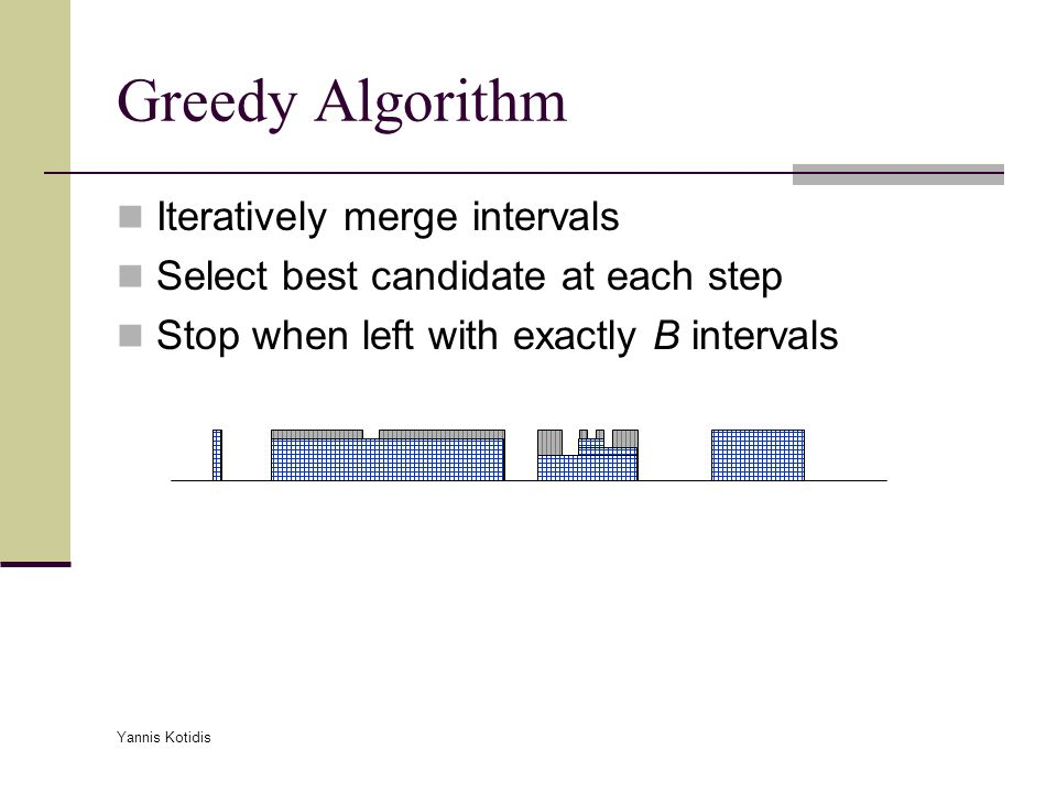 Yannis Kotidis Greedy Algorithm Iteratively merge intervals Select best candidate at each step Stop when left with exactly B intervals