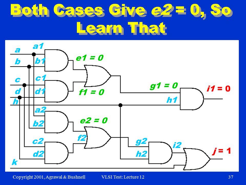 Copyright 2001, Agrawal & BushnellVLSI Test: Lecture 1237 Both Cases Give e2 = 0, So Learn That i1 = 0 j = 1 a1 b1 h c1 k d1 b a d c d2 c2 b2 a2 f2 e2 = 0 h2 g2 h1 i2 g1 = 0 f1 = 0 e1 = 0