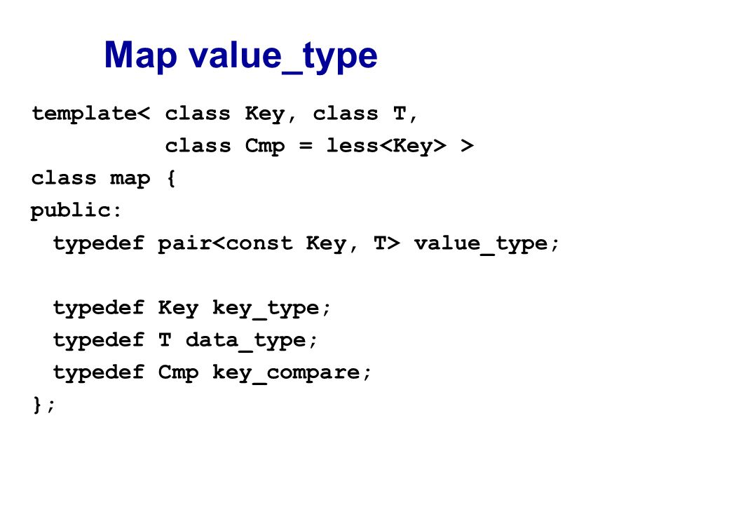Map value_type template< class Key, class T, class Cmp = less > class map { public: typedef pair value_type; typedef Key key_type; typedef T data_type; typedef Cmp key_compare; };