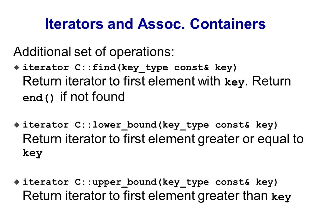 Iterators and Assoc.