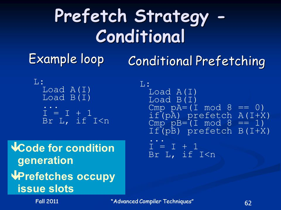 62 Fall 2011 Advanced Compiler Techniques Prefetch Strategy - Conditional Example loop L: Load A(I) Load B(I)...