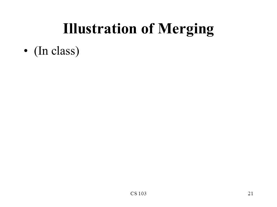 CS 10321 Illustration of Merging (In class)
