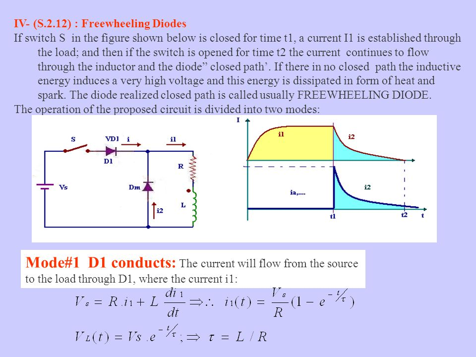 Mode#1 D1 conducts: The current will flow from the source to the load through D1, where the current i1: IV- (S.2.12) : Freewheeling Diodes If switch S