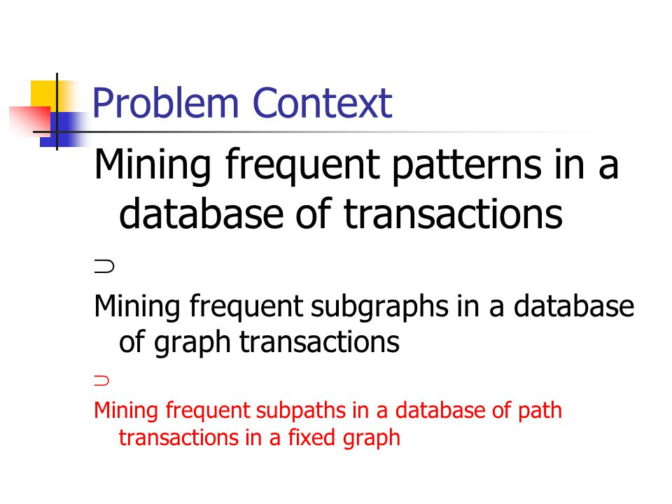 Problem Context Mining frequent patterns in a database of transactions  Mining frequent subgraphs in a database of graph transactions  Mining frequent subpaths in a database of path transactions in a fixed graph