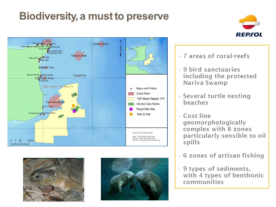 7 areas of coral-reefs 9 bird sanctuaries including the protected Nariva Swamp Several turtle nesting beaches Cost line geomorphologically complex wit