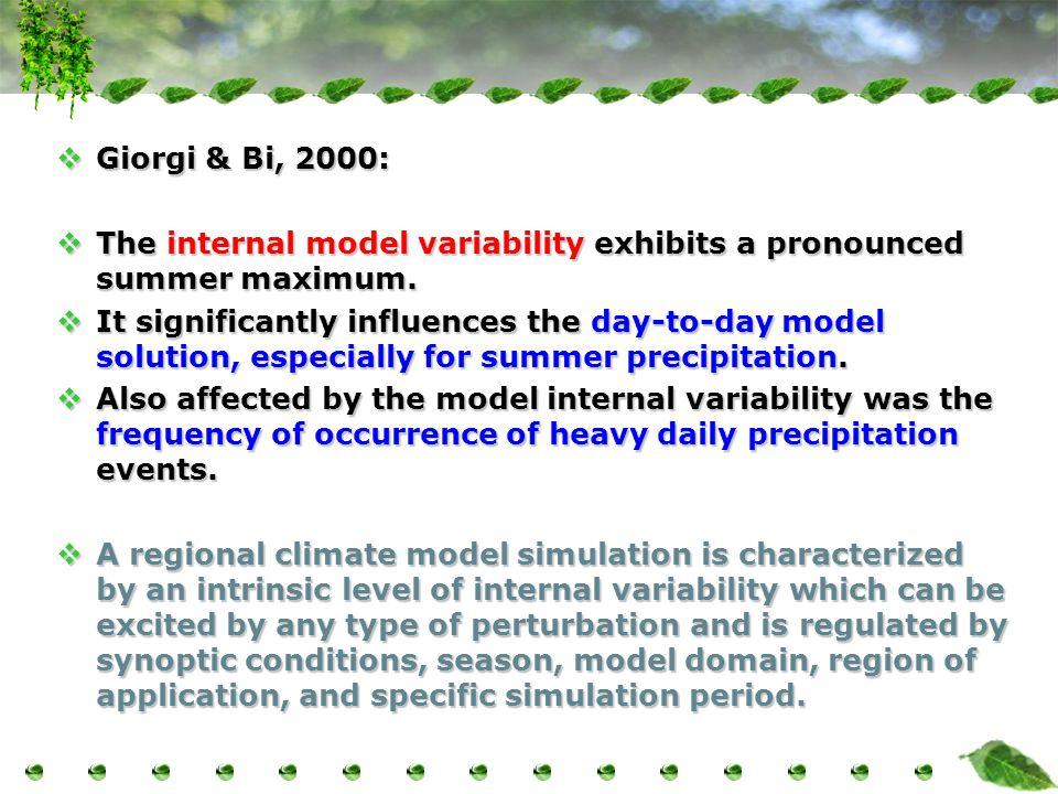  Giorgi & Bi, 2000:  The internal model variability exhibits a pronounced summer maximum.