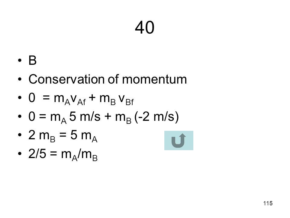 114 39 E F net = mg – F Buoy 3.6 N = 4.5 N – F Buoy F Buoy = 4.5 – 3.6 = 0.9 N F Buoy =  water g V rock 0.9 N = 1000 x 10 x V rock V rock = 0.9 N / 1