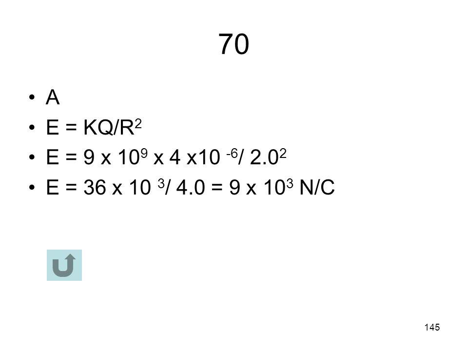 144 69 C E x B + Force magnetic = Force Electric BQv = QE v = E/B = 6/2 = 3m/s