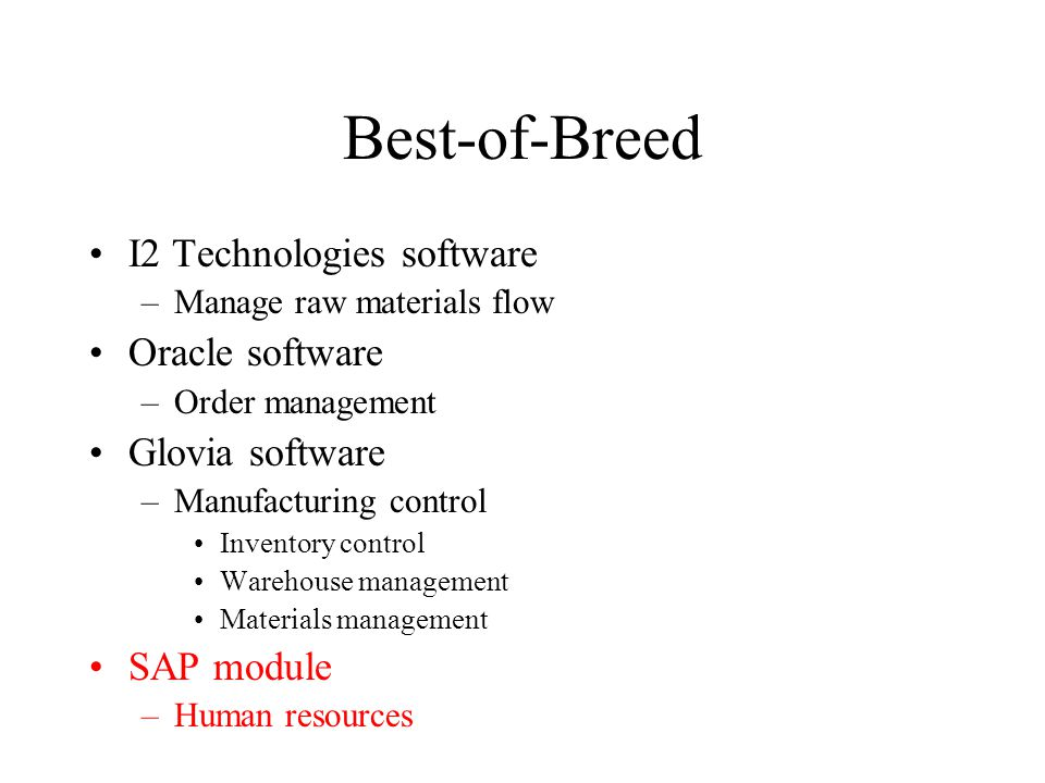 Best-of-Breed I2 Technologies software –Manage raw materials flow Oracle software –Order management Glovia software –Manufacturing control Inventory control Warehouse management Materials management SAP module –Human resources