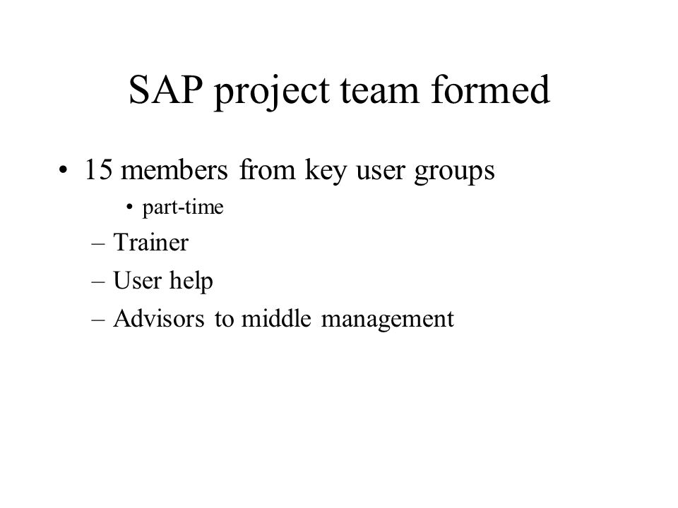 SAP project team formed 15 members from key user groups part-time –Trainer –User help –Advisors to middle management
