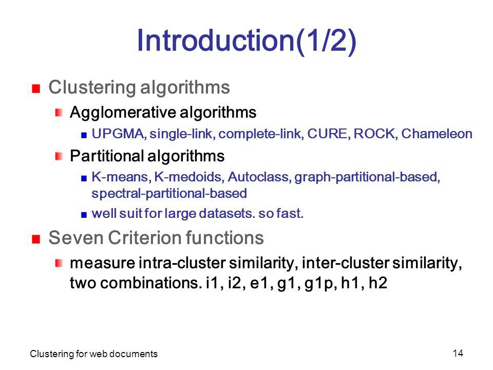 Clustering for web documents 14 Introduction(1/2) Clustering algorithms Agglomerative algorithms UPGMA, single-link, complete-link, CURE, ROCK, Chameleon Partitional algorithms K-means, K-medoids, Autoclass, graph-partitional-based, spectral-partitional-based well suit for large datasets.